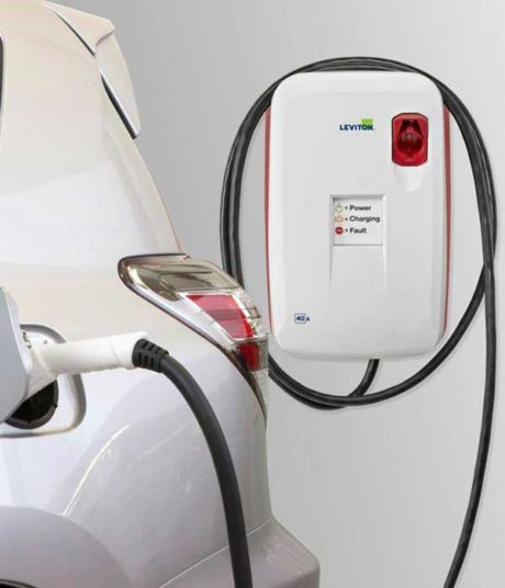 Leviton Evr-Green 400 EVB40-PST electric car charging station EVSE - installation view in garage
