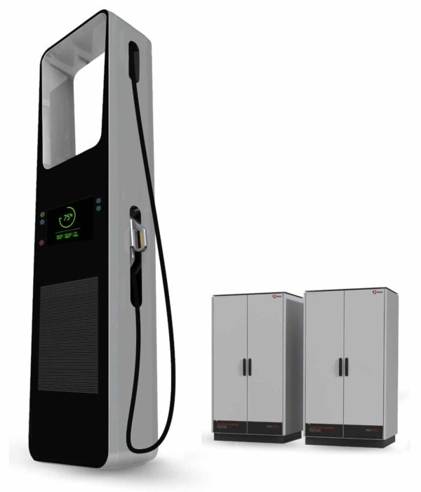 Efacec HV350 electric car charging station EVSE shown with two power cabinets