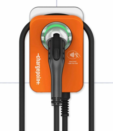 ChargePoint CPF50 commercial fleet charging station for electric vehicles showing detailed front view
