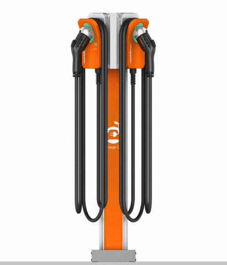 ChargePoint CPF50 commercial fleet charging station for electric vehicles showing dual mount pedestal configuration