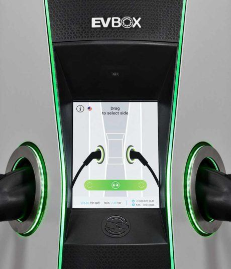 EVBox Iqon charger for electric cars - close up view