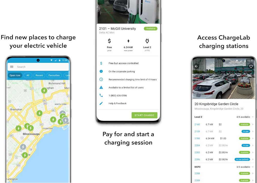 three screens on the ChargeLab mobile app for electric vehicle charging