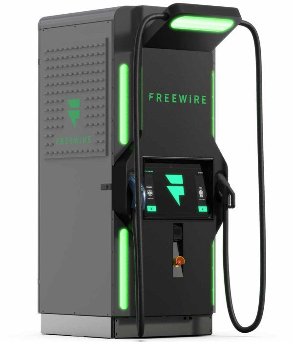 freewire boost charger electric car charger, angle view view